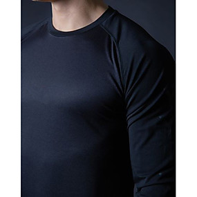 cheap Yoga & Fitness-Men's Long Sleeve Running Shirt Tee Tshirt Top Street Athleisure Summer Cotton Moisture Wicking Breathable Soft Fitness Gym Workout Running Jogging Sportswear Solid Colored Normal White Black Navy