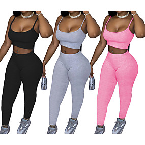 cheap Yoga & Fitness-Women's 2pcs Yoga Suit Winter Fashion Black Pink Grey Fitness Gym Workout Running High Waist Leggings Bra Top Sport Activewear Tummy Control Butt Lift Breathable Quick Dry Moisture Wicking High