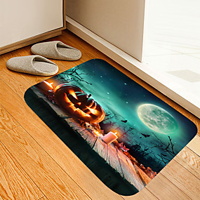 cheap Mats & Rugs-Halloween Moon Wood Pumpkin Digital Printing Mat Flowers Kitten Girl Modern Bath Mats Nonwoven / Memory Foam Novelty Bathroom