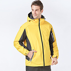 cheap Camping, Hiking & Backpacking-Men's Hiking Jacket Autumn / Fall Winter Spring Outdoor Thermal Warm Waterproof Windproof Warm Jacket Full Length Hidden Zipper Climbing Camping / Hiking / Caving Traveling Black Yellow / Breathable
