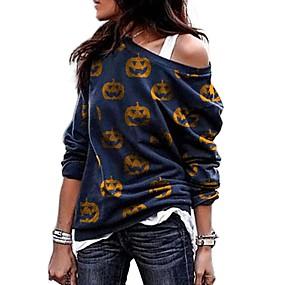 cheap Athleisure Wear-Women's Pullover Sweatshirt Pumpkin Animal Halloween Daily Other Prints Basic Halloween Hoodies Sweatshirts  White Blue Orange