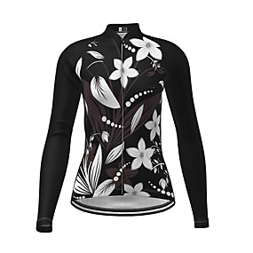 cheap Cycling & Motorcycling-21Grams Women's Long Sleeve Cycling Jersey Winter Polyester Black Novelty Floral Botanical Bike Jersey Top Mountain Bike MTB Road Bike Cycling Quick Dry Back Pocket Sports Clothing Apparel