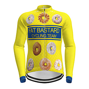 cheap Cycling & Motorcycling-21Grams Men's Long Sleeve Cycling Jersey Winter Polyester Yellow Novelty Bike Jersey Top Mountain Bike MTB Road Bike Cycling Quick Dry Back Pocket Sports Clothing Apparel / Micro-elastic / Athleisure