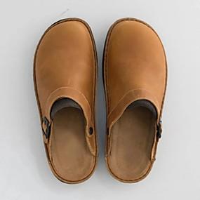 cheap Men's Clogs & Mules-Men's Clogs & Mules Casual Daily PU Black / Khaki / Coffee Summer / Square Toe