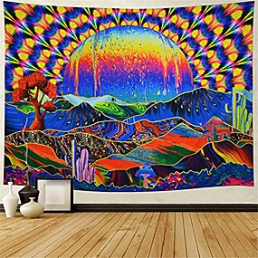 "cheap Wall Tapestries-trippy tapestry planet and mountains wall tapestry psychedelic tapestry mushrooms cactus wall hanging tapestry mountian tree tapestries for living room dorm decor w78""×h59"""