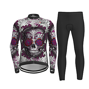 cheap Cycling & Motorcycling-21Grams Men's Long Sleeve Cycling Jersey with Tights Winter Polyester Purple Sugar Skull Skull Bike Jersey Tights Clothing Suit Quick Dry Moisture Wicking Breathable Back Pocket Sports Sugar Skull