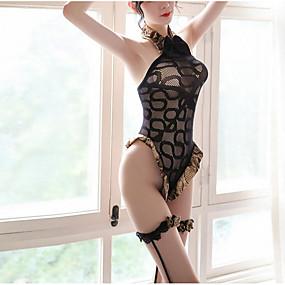 cheap Suits-Women's Mesh Suits Bodysuits Nightwear Floral Black One-Size