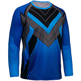 cheap Cycling & Motorcycling-21Grams Men's Long Sleeve Cycling Jersey Downhill Jersey Dirt Bike Jersey Winter Polyester Blue Novelty Bike Top Mountain Bike MTB Road Bike Cycling Quick Dry Breathable Back Pocket Sports Clothing