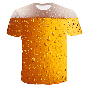 cheap Athleisure Wear-Men's T shirt Shirt Color Block 3D Beer Plus Size Short Sleeve Going out Tops Basic Round Neck Yellow