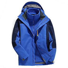 cheap Camping, Hiking & Backpacking-Men's Hiking Jacket Hiking 3-in-1 Jackets Hiking Windbreaker Autumn / Fall Winter Spring Outdoor Patchwork Waterproof Windproof Detachable Fleece Warm 3-in-1 Jacket Winter Jacket Top Hunting Ski