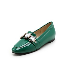 cheap Women's Slip-Ons & Loafers-Women's Loafers & Slip-Ons Block Heel Square Toe Classic Daily Rhinestone Solid Colored PU White / Black / Green