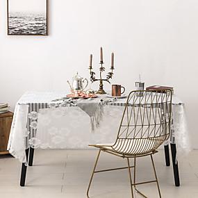 billige Duker-duk blonder støvtette blonder ensfarget borddeksel borddekorasjoner for skrivebord rektangulært 150 * 220 cm ren hvit 1 stk