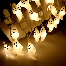 cheap LED Strip Lights-Halloween Lights Décor LED String Light 3M 20LEDs Cute Ghost Halloween Skull Decorative Lights Halloween Supplies Toys Garland Outdoor Indoor Decoration Light