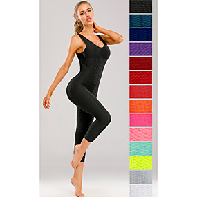 cheap Yoga & Fitness-Women's Workout Jumpsuit Scrunch Butt Ruched Butt Lifting Tights Leggings Romper Tummy Control Quick Dry Solid Color White Purple Red Zumba Yoga Gym Workout Summer Sports Activewear High Elasticity