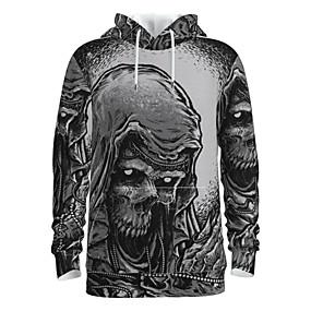 billige Hættetrøjer og sweatshirts til herrer-Herre Halloween Pullover-hættetrøje Dødningehoveder Hætte Basale Hættetrøjer Sweatshirts Langærmet Grå