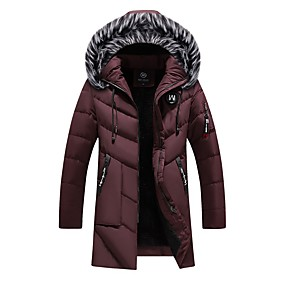 cheap Men's Downs & Parkas-Men's Padded Parka Solid Colored POLY Black / Blue / Red 3XL