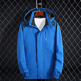 cheap Camping, Hiking & Backpacking-Men's Hiking Jacket Autumn / Fall Spring Outdoor Thermal Warm Waterproof Windproof Ultraviolet Resistant Jacket Top Camping / Hiking Hunting Climbing Black Red Blue / Breathable