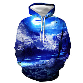cheap Athleisure Wear-Men's Unisex Pullover Hoodie Sweatshirt Graphic Daily Going out 3D Print Basic Casual Hoodies Sweatshirts  Light Blue Lake blue Gray blue