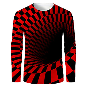 cheap Athleisure Wear-Men's T shirt 3D Print Graphic Abstract 3D Long Sleeve Daily Tops Basic Black / Red