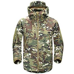 cheap Camping, Hiking & Backpacking-Men's Hiking Jacket Hoodie Jacket Softshell Jacket Winter Outdoor Solid Color Thermal Warm Waterproof Windproof Fleece Lining Jacket Single Slider Hunting Fishing Climbing Black Camouflage