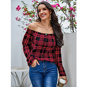 cheap Women's Tops-Women's Blouse Abstract Long Sleeve Button Off Shoulder Tops Basic Basic Top Red
