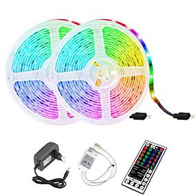 Недорогие Светодиодные ленты-2x5M Наборы ламп 2*300 светодиоды 2835 SMD 8mm 1 пульт дистанционного управления 44Keys 1 комплект RGB Водонепроницаемый Можно резать Декоративная 12 V / IP65 / Самоклеющиеся