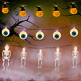 cheap LED String Lights-Halloween Lights Pumpkin String Lights Spider Ghost Eyeball Skeleton Palm Festival Party Holiday Halloween Decoration Supply LED Toys without Battery