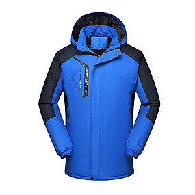 cheap Camping, Hiking & Backpacking-Men's Hiking Jacket Winter Outdoor Solid Color Thermal Warm Waterproof Windproof Fleece Lining Jacket Full Length Hidden Zipper Climbing Camping / Hiking / Caving Traveling Red Blue Dark Green
