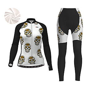 cheap Cycling & Motorcycling-21Grams Women's Long Sleeve Cycling Jacket with Pants Winter Fleece Polyester Black Sugar Skull Skull Funny Bike Clothing Suit Thermal Warm Fleece Lining 3D Pad Warm Quick Dry Sports Sugar Skull