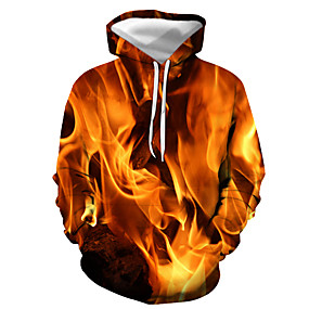 cheap Athleisure Wear-Men's Pullover Hoodie Sweatshirt Graphic Flame Daily Going out 3D Print Basic Casual Hoodies Sweatshirts  Yellow Grey Orange