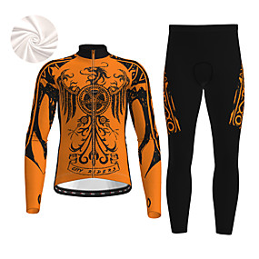 cheap Cycling & Motorcycling-21Grams Men's Long Sleeve Cycling Jacket with Pants Winter Fleece Black / Yellow White Blue Dragon Novelty Animal Bike Thermal Warm Fleece Lining Breathable Warm Quick Dry Sports Dragon Mountain Bike