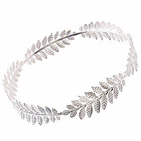 cheap Accessories-roman emperor crown laurel wreath sliver leaf headband, silver, size one size
