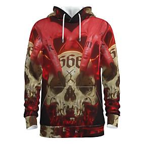 cheap Athleisure Wear-Men's Pullover Hoodie Sweatshirt Skull Halloween 3D Print Basic Halloween Hoodies Sweatshirts  Red
