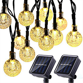 cheap Solar Powered-2PCS Solar String Lights 20 LED 5M Solar Patio Lights with 8 Modes Waterproof Crystal Ball String Lights for Patio Lawn Party Wedding Garden Decorations