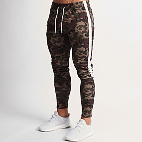 cheap Running & Jogging-Men's Sweatpants Joggers Athleisure Bottoms Drawstring Winter Fitness Gym Workout Performance Running Training Breathable Quick Dry Soft Normal Sport Camouflage Camouflage Gray / Stretchy