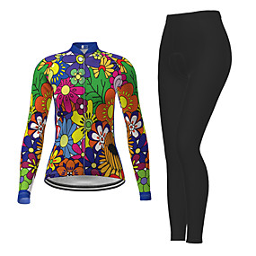 cheap Cycling & Motorcycling-21Grams Women's Long Sleeve Cycling Jersey with Tights Winter Polyester Green Novelty Floral Botanical Bike Jersey Tights Clothing Suit Quick Dry Moisture Wicking Breathable Back Pocket Sports