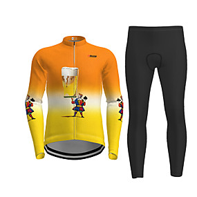 cheap Cycling & Motorcycling-21Grams Men's Long Sleeve Cycling Jersey with Tights Winter Polyester Orange Cartoon Beer Bike Jersey Tights Clothing Suit Moisture Wicking Quick Dry Breathable Back Pocket Sports Cartoon Mountain