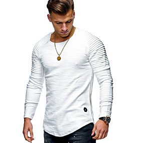 cheap Men's basics-Men's Daily T-shirt Solid Colored Long Sleeve Tops Cotton Round Neck White Black Army Green