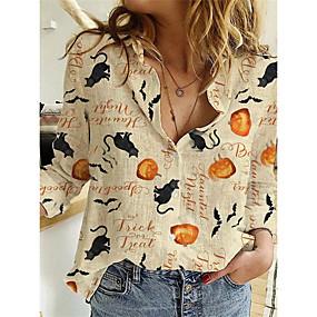 cheap Athleisure Wear-Women's Halloween Blouse Shirt Animal Long Sleeve Print V Neck Basic Halloween Tops Orange Khaki