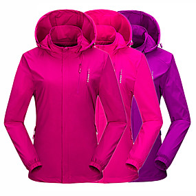 cheap Camping, Hiking & Backpacking-Wolfcavalry® Women's Hiking Jacket Hoodie Jacket Hiking Windbreaker Autumn / Fall Winter Spring Outdoor Solid Color Waterproof Windproof Warm Breathable Jacket Top Camping / Hiking Hunting Fishing