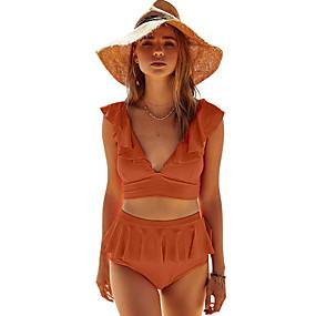 cheap Surfing, Swimming & Diving-Women's Tankini Swimsuit High Waist Zipper Black Purple Red Orange Swimwear Padded Bathing Suits Sexy