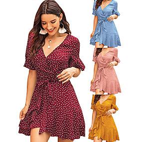 povoljno Wrap Dress-Žene Shift haljina Midi haljina - Kratkih rukava Na točkice Ljeto V izrez Boho Dnevno 2020 Plava Bijela Blushing Pink Lila-roza Djetelina Braon Svjetloplav XS S M L XL