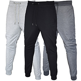 cheap Men-Men's Sweatpants Joggers Casual Bottoms Drawstring Pocket Cotton Fitness Gym Workout Performance Running Training Breathable Soft Sweat wicking Normal Sport Solid Colored Black Dark Gray Light Gray