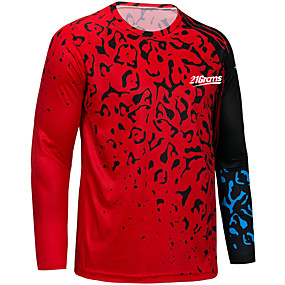 cheap Cycling & Motorcycling-21Grams Men's Long Sleeve Cycling Jersey Downhill Jersey Dirt Bike Jersey Winter Polyester Red Novelty Bike Top Mountain Bike MTB Road Bike Cycling Quick Dry Breathable Back Pocket Sports Clothing