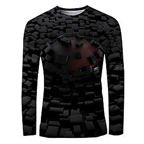 cheap Athleisure Wear-Men's T shirt 3D Print Graphic Long Sleeve Daily Tops Basic Black