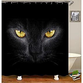 cheap Bathroom Gadgets-3d black cat eyes bathroom curtain home fabric shower curtain with 12 hooks 59 x 71 inches