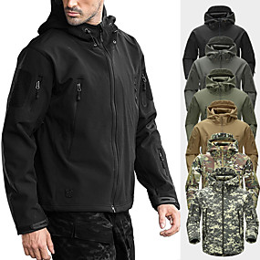 cheap Camping, Hiking & Backpacking-Men's Hoodie Jacket Hiking Softshell Jacket Survival Military Tactical Jacket Camo Outdoor Winter Thermal Waterproof Windproof Fleece Winter Jacket Outerwear Top Climbing Skiing Camping