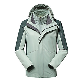 cheap Camping, Hiking & Backpacking-Women's Hiking Jacket Hiking 3-in-1 Jackets Autumn / Fall Winter Spring Outdoor Patchwork Waterproof Windproof Fleece Lining Warm Jacket Hunting Fishing Climbing White Red Burgundy / Breathable