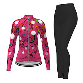 cheap Cycling & Motorcycling-21Grams Women's Long Sleeve Cycling Jersey with Tights Winter Polyester Green / Yellow Blue Pink Novelty Bike Jersey Tights Clothing Suit Quick Dry Breathable Back Pocket Sports Patterned Mountain
