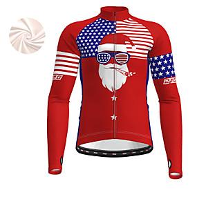 cheap Cycling & Motorcycling-21Grams Men's Long Sleeve Cycling Jersey Winter Fleece Polyester Red Christmas USA National Flag Bike Top Mountain Bike MTB Road Bike Cycling Fleece Lining Warm Quick Dry Sports Clothing Apparel